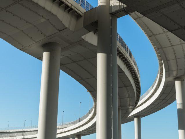 Curved Highway bridge -